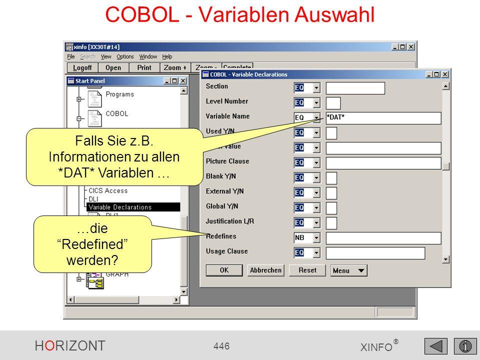 COBOL - Variablen Auswahl