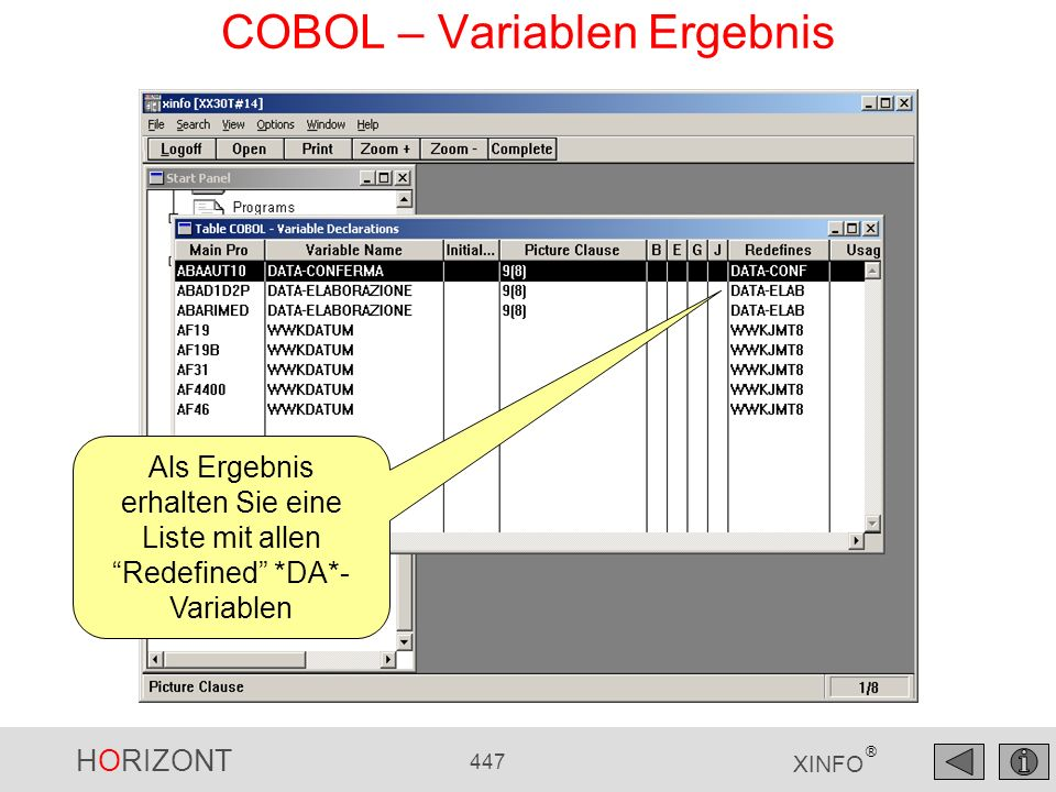 COBOL – Variablen Ergebnis