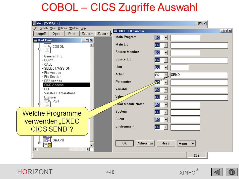 COBOL – CICS Zugriffe Auswahl