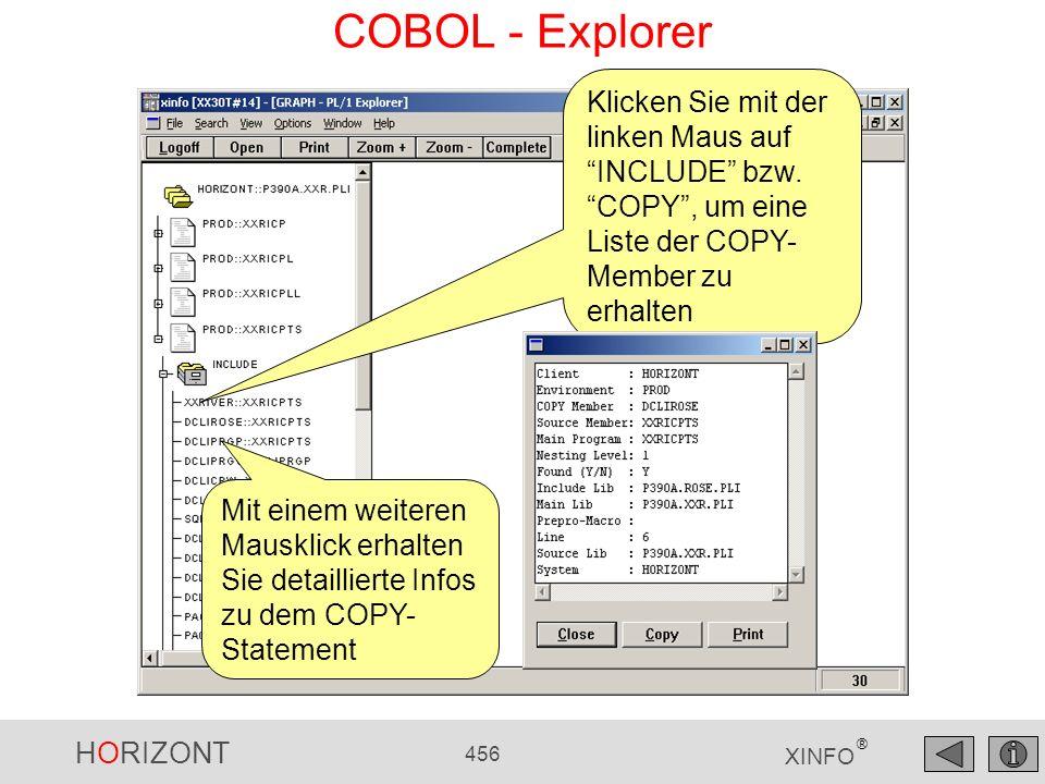 COBOL - Explorer Klicken Sie mit der linken Maus auf INCLUDE bzw. COPY , um eine Liste der COPY-Member zu erhalten.