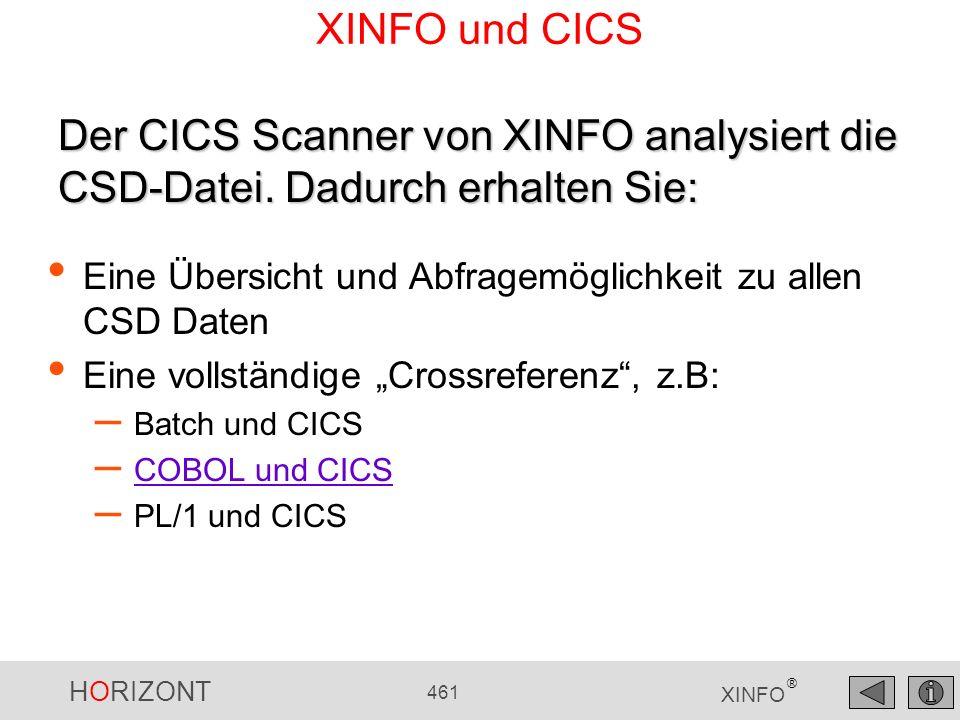 XINFO und CICS Der CICS Scanner von XINFO analysiert die CSD-Datei. Dadurch erhalten Sie: Eine Übersicht und Abfragemöglichkeit zu allen CSD Daten.