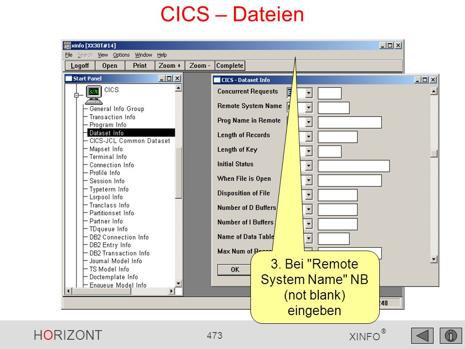 3. Bei Remote System Name NB (not blank) eingeben
