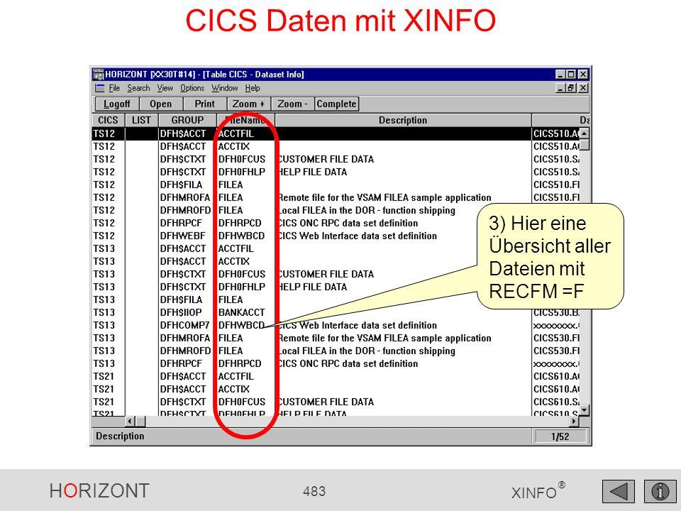 CICS Daten mit XINFO 3) Hier eine Übersicht aller Dateien mit RECFM =F