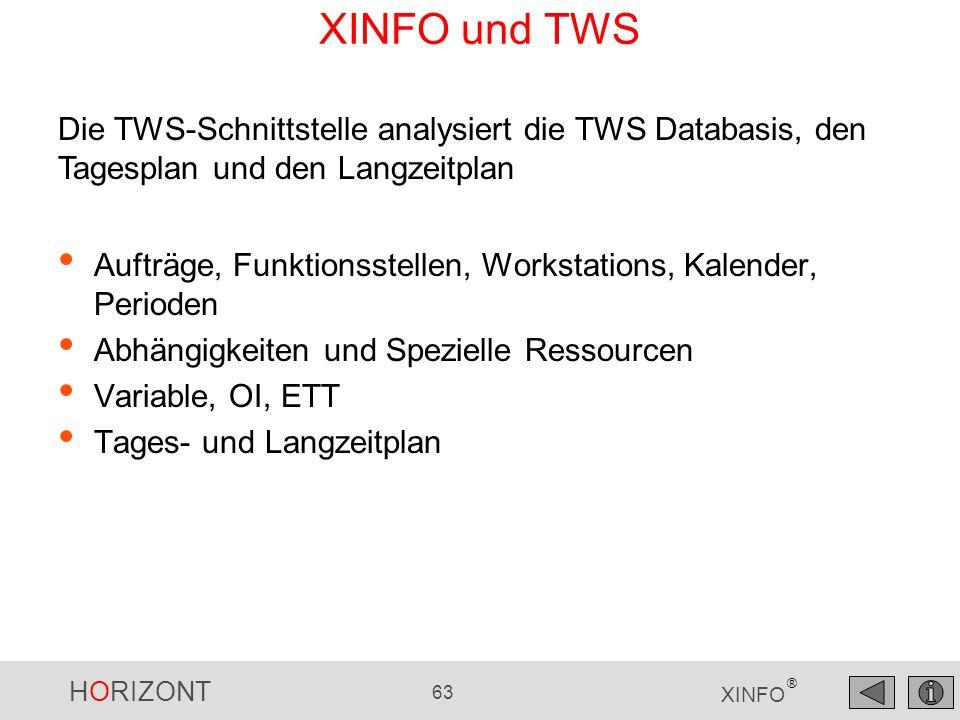 XINFO und TWS Die TWS-Schnittstelle analysiert die TWS Databasis, den Tagesplan und den Langzeitplan.