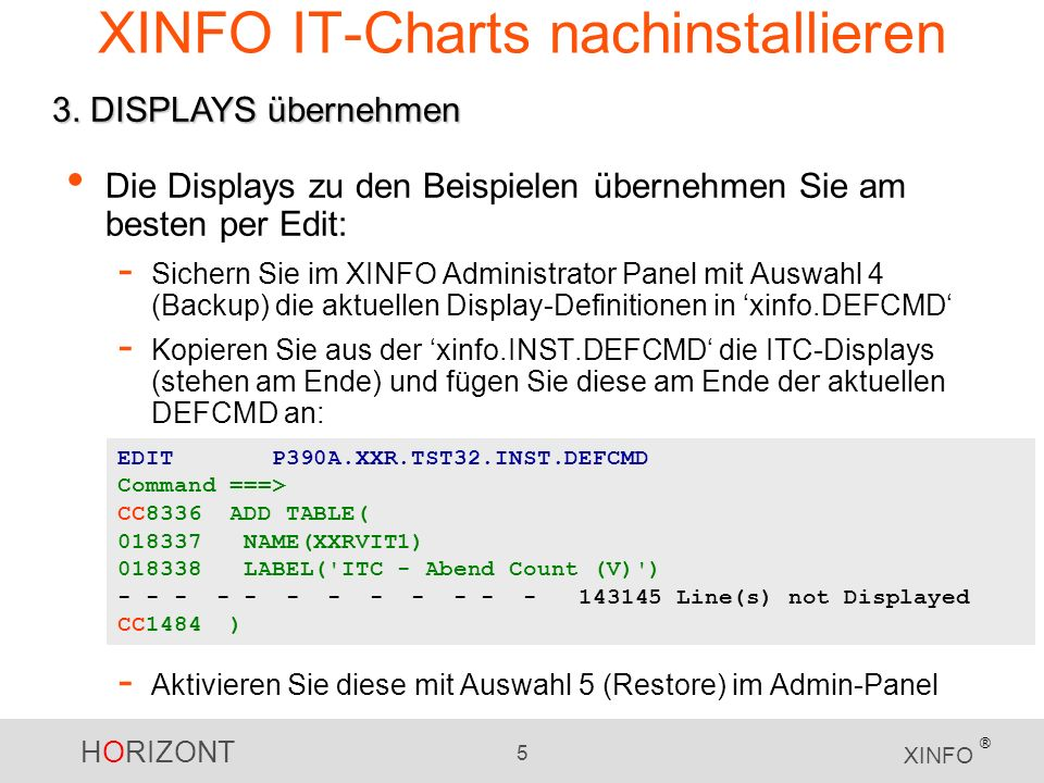 XINFO IT-Charts nachinstallieren
