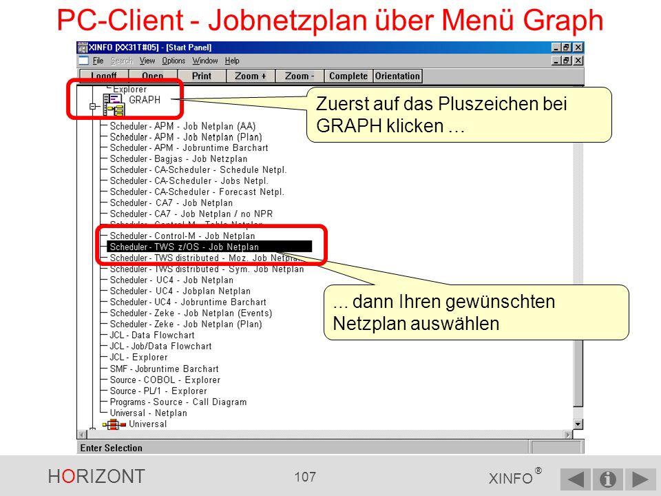 PC-Client - Jobnetzplan über Menü Graph