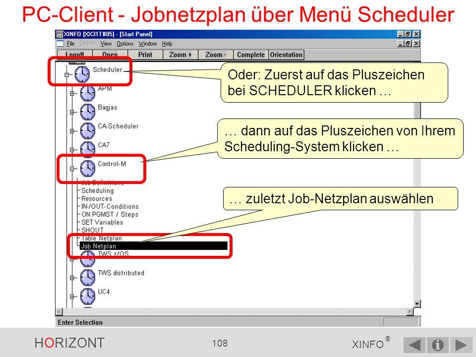 PC-Client - Jobnetzplan über Menü Scheduler