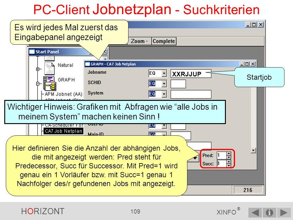 PC-Client Jobnetzplan - Suchkriterien