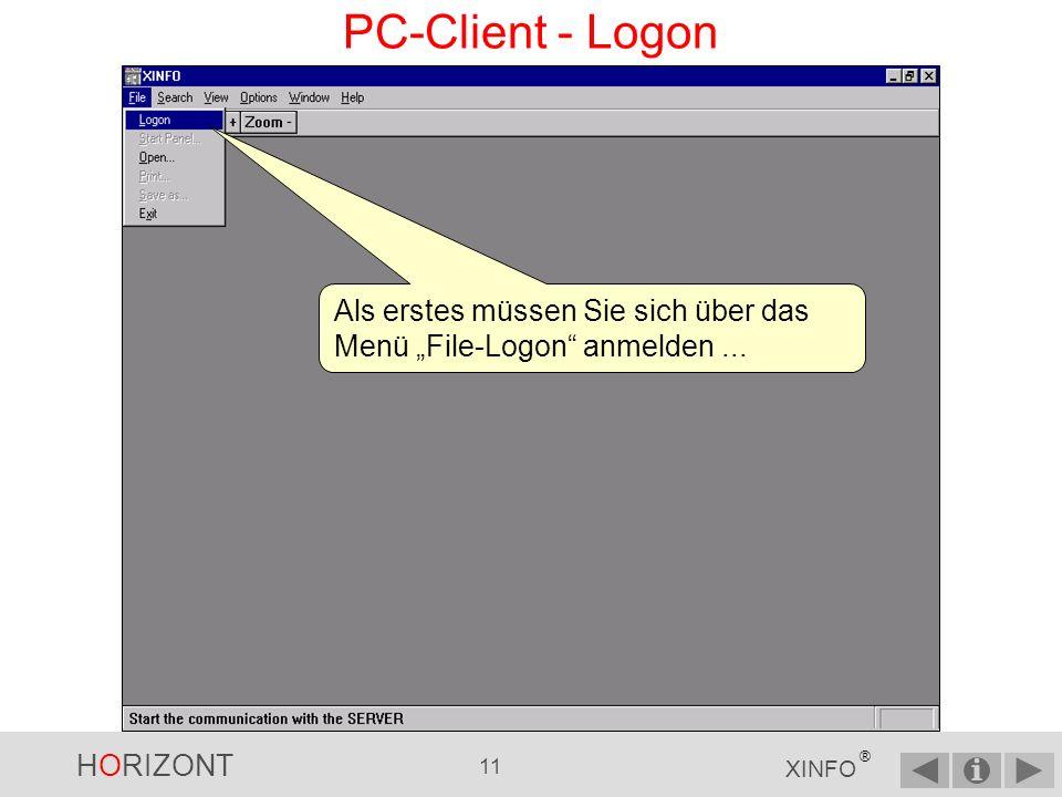 """PC-Client - Logon Als erstes müssen Sie sich über das Menü """"File-Logon anmelden ..."""