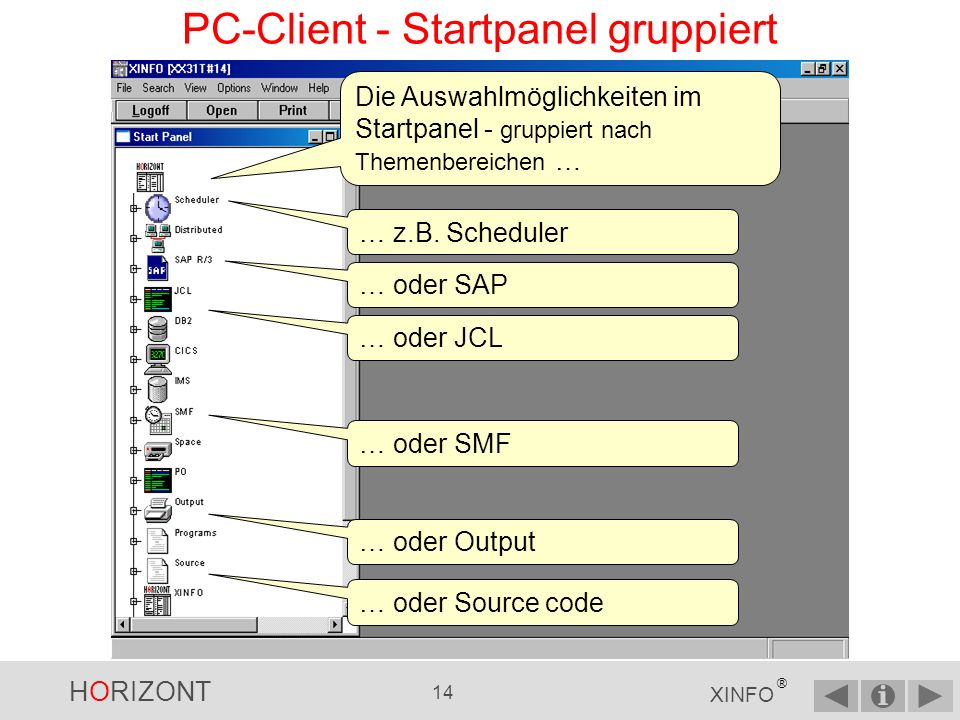 PC-Client - Startpanel gruppiert