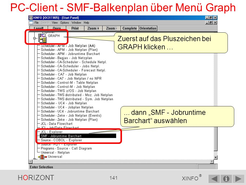 PC-Client - SMF-Balkenplan über Menü Graph
