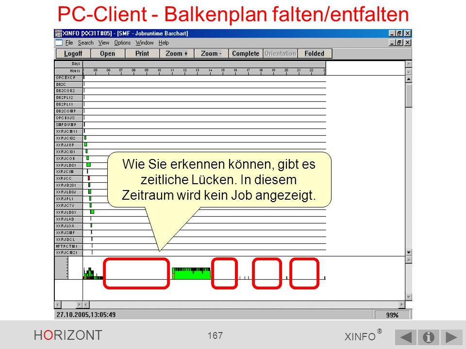PC-Client - Balkenplan falten/entfalten