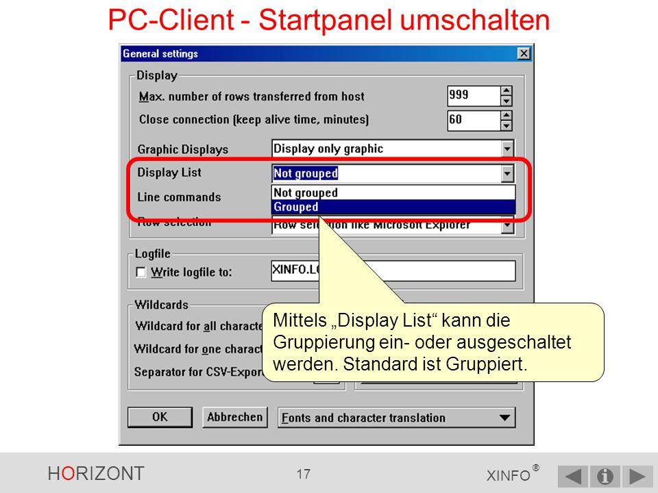 PC-Client - Startpanel umschalten
