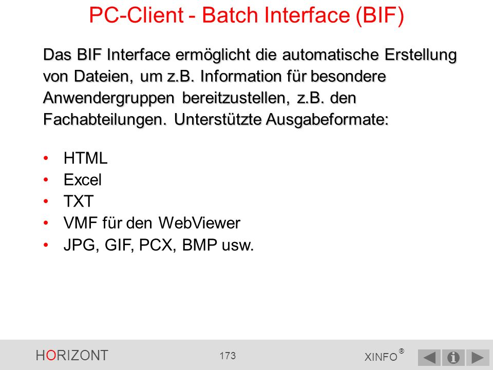 PC-Client - Batch Interface (BIF)