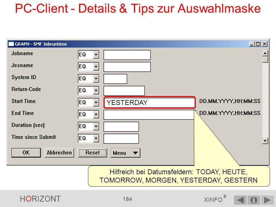 PC-Client - Details & Tips zur Auswahlmaske