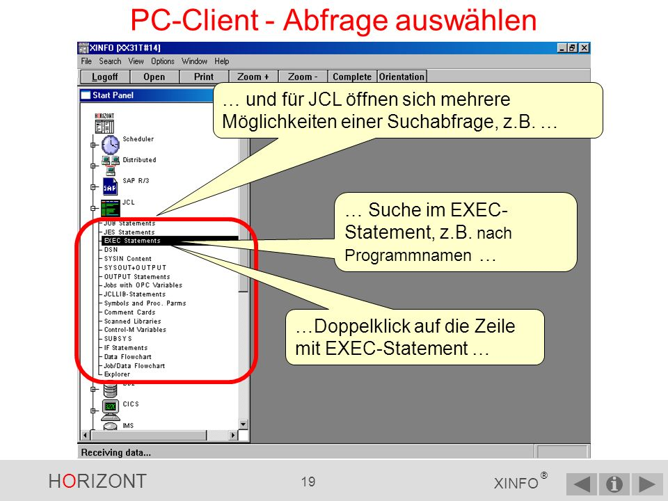 PC-Client - Abfrage auswählen