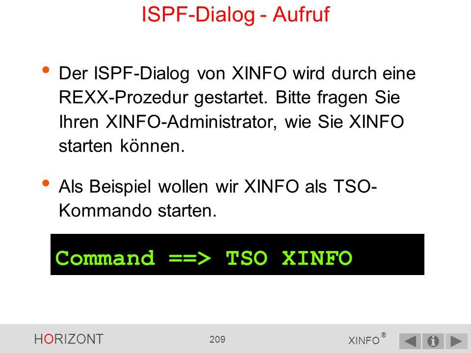 Command ==> TSO XINFO