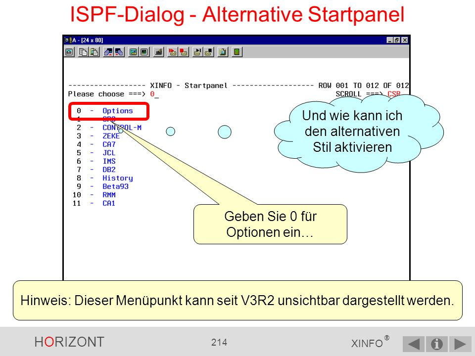 ISPF-Dialog - Alternative Startpanel