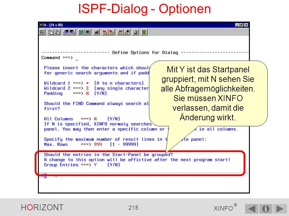 ISPF-Dialog - Optionen