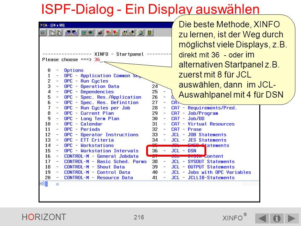 ISPF-Dialog - Ein Display auswählen