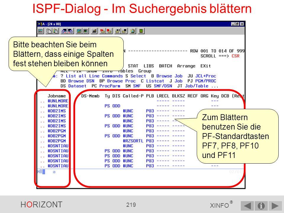 ISPF-Dialog - Im Suchergebnis blättern