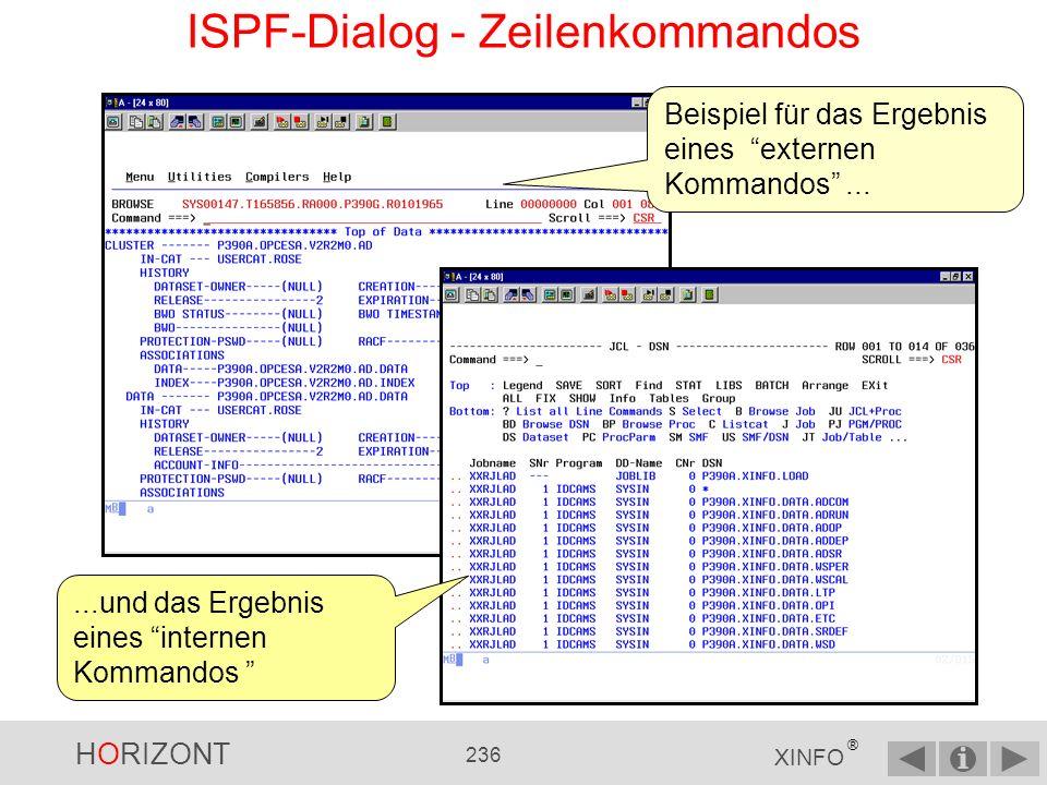 ISPF-Dialog - Zeilenkommandos