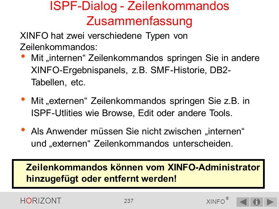 ISPF-Dialog - Zeilenkommandos Zusammenfassung