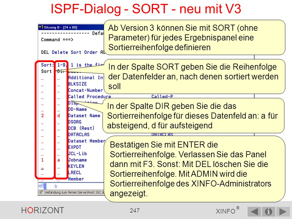 ISPF-Dialog - SORT - neu mit V3