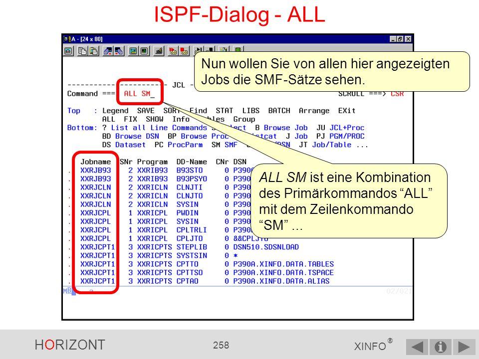 ISPF-Dialog - ALL Nun wollen Sie von allen hier angezeigten Jobs die SMF-Sätze sehen.