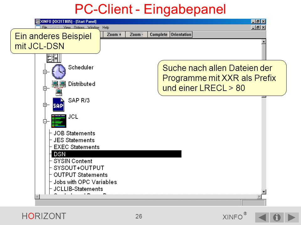 PC-Client - Eingabepanel