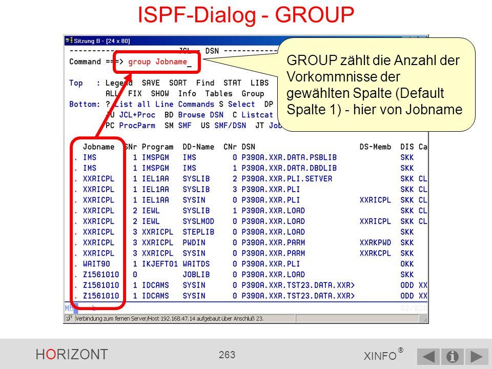 ISPF-Dialog - GROUP GROUP zählt die Anzahl der Vorkommnisse der gewählten Spalte (Default Spalte 1) - hier von Jobname.
