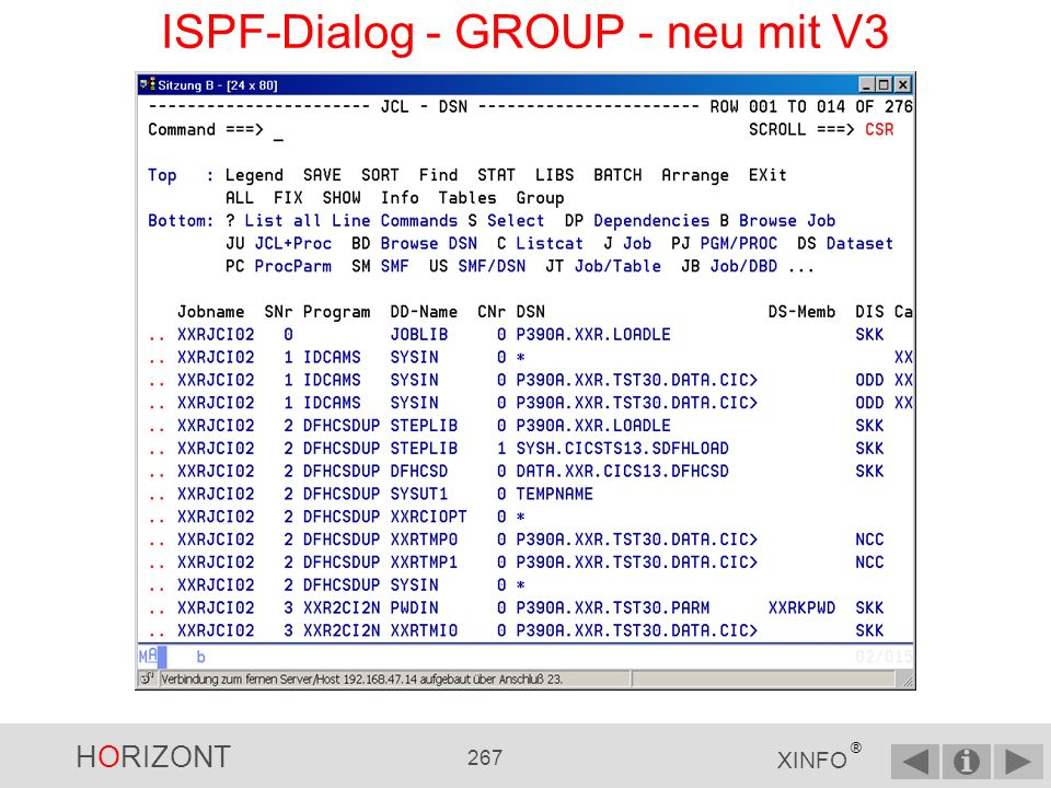 ISPF-Dialog - GROUP - neu mit V3