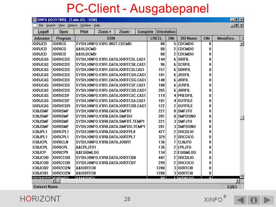 PC-Client - Ausgabepanel