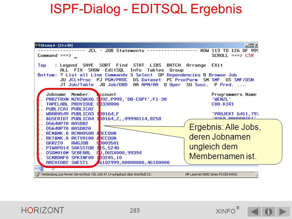 ISPF-Dialog - EDITSQL Ergebnis