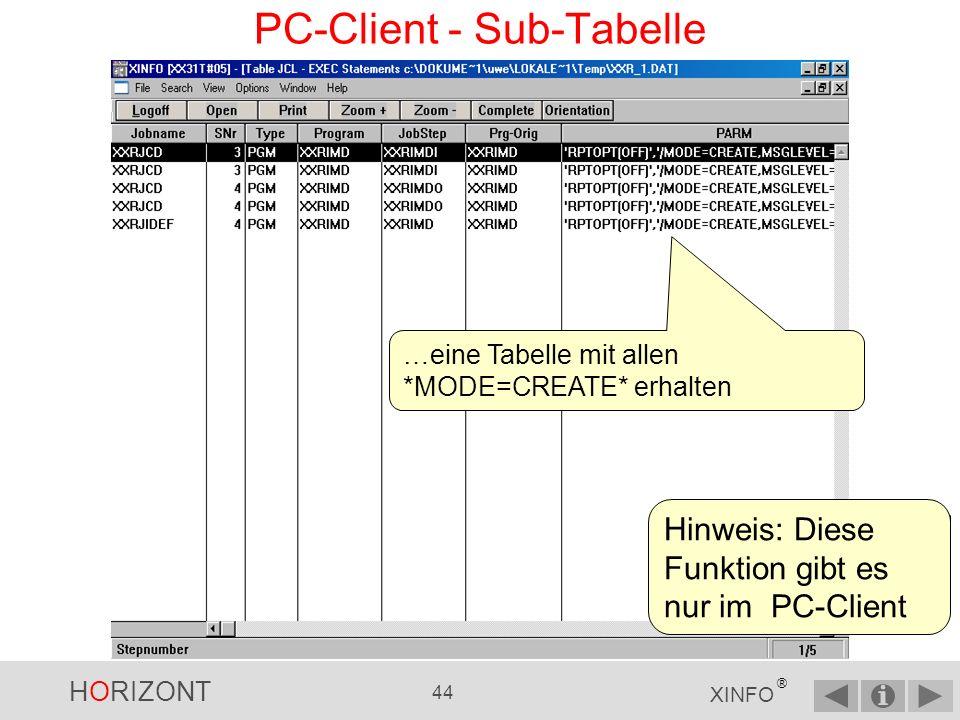 PC-Client - Sub-Tabelle