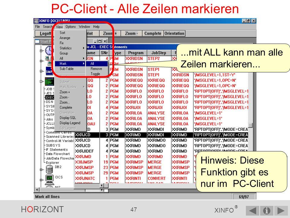 PC-Client - Alle Zeilen markieren