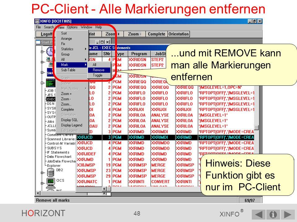 PC-Client - Alle Markierungen entfernen