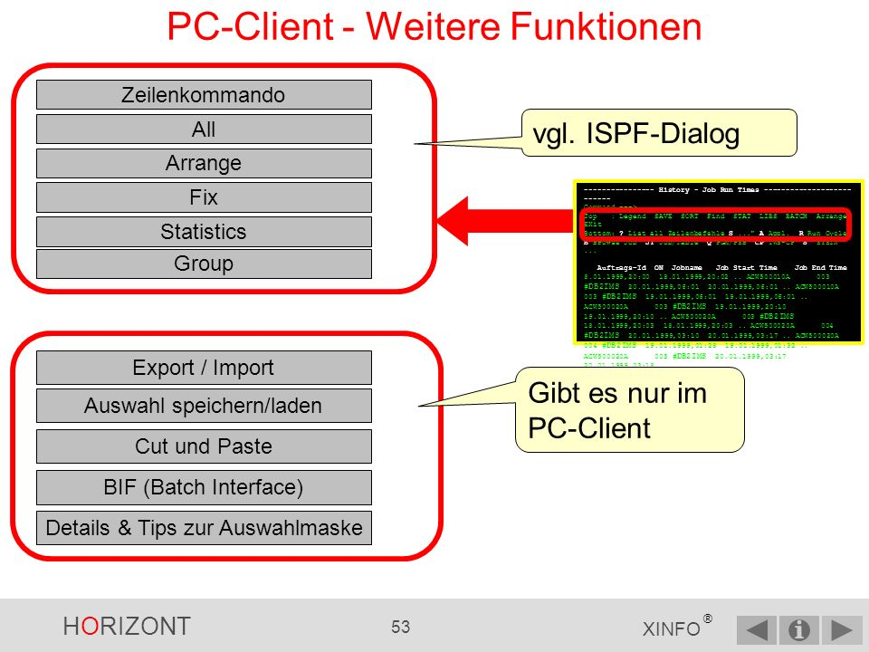 PC-Client - Weitere Funktionen