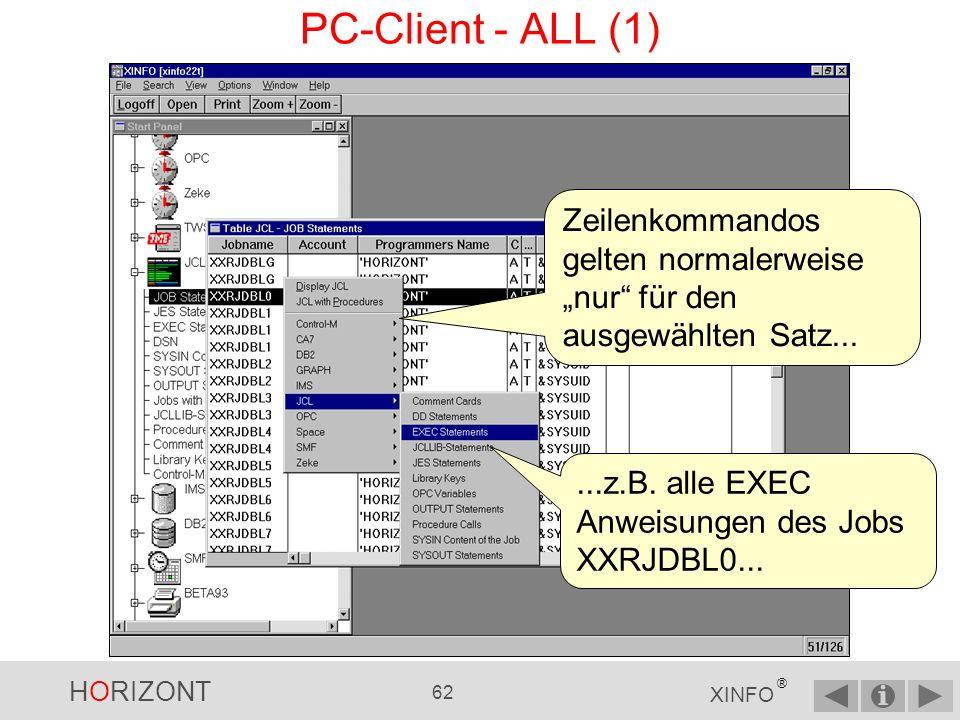"""PC-Client - ALL (1) Zeilenkommandos gelten normalerweise """"nur für den ausgewählten Satz..."""
