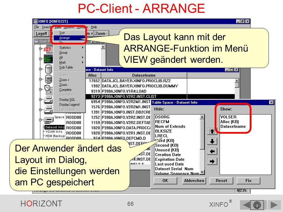 PC-Client - ARRANGE Das Layout kann mit der ARRANGE-Funktion im Menü VIEW geändert werden. Der Anwender ändert das Layout im Dialog,