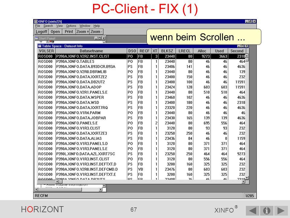 PC-Client - FIX (1) wenn beim Scrollen ...