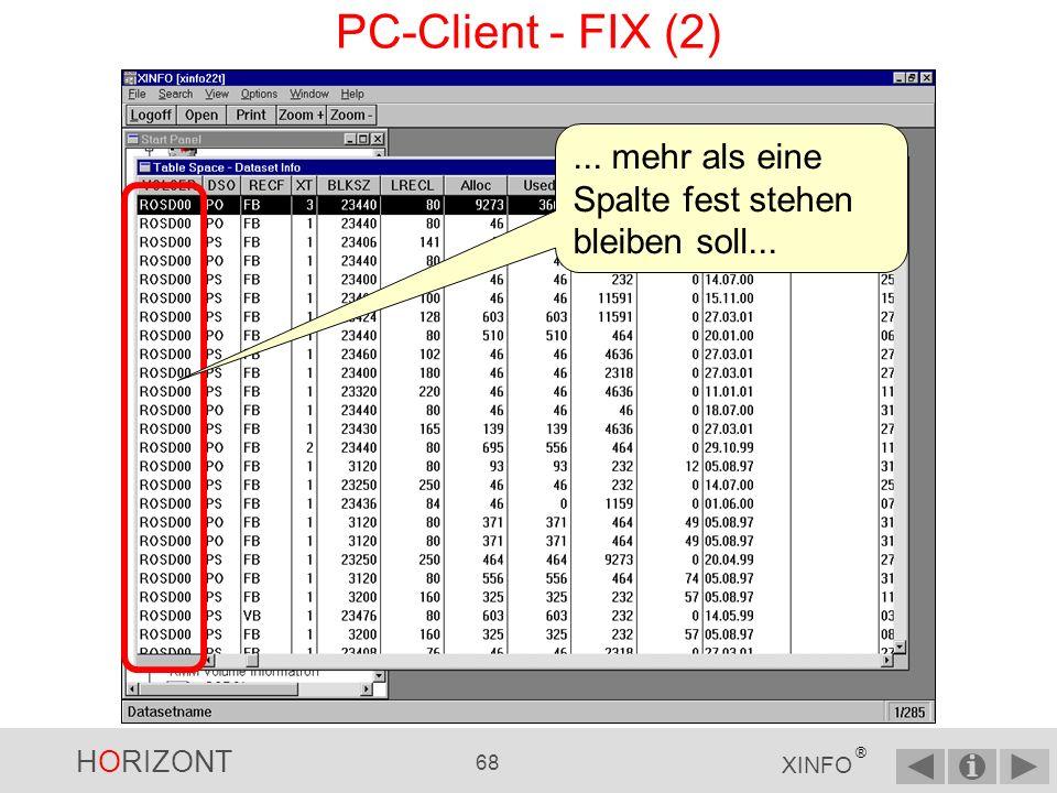 PC-Client - FIX (2) ... mehr als eine Spalte fest stehen bleiben soll...