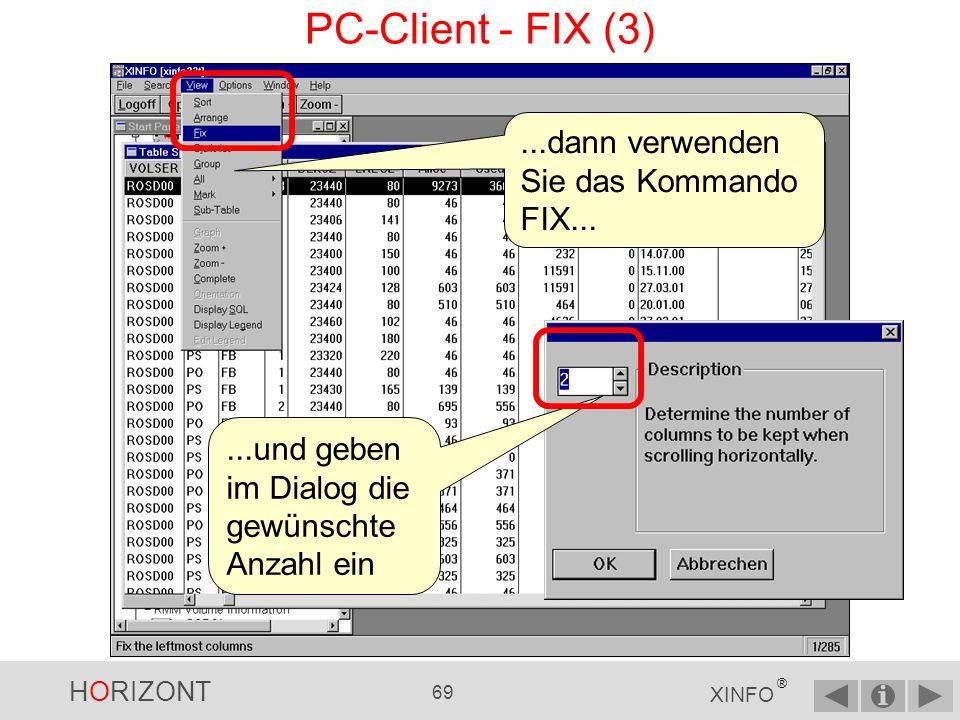 PC-Client - FIX (3) ...dann verwenden Sie das Kommando FIX...
