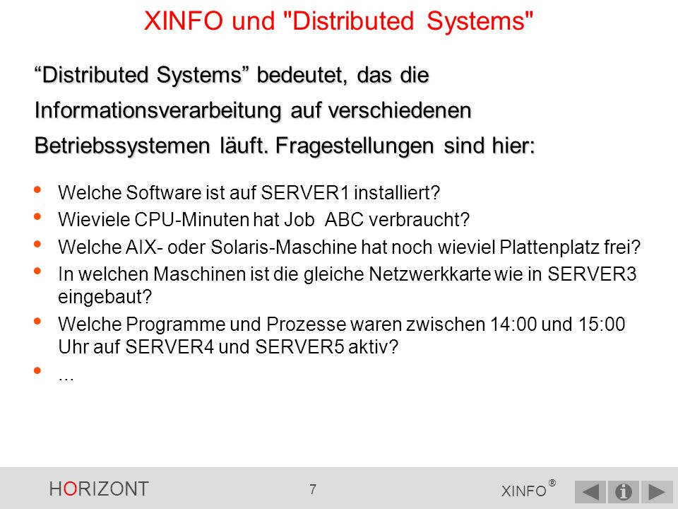 XINFO und Distributed Systems