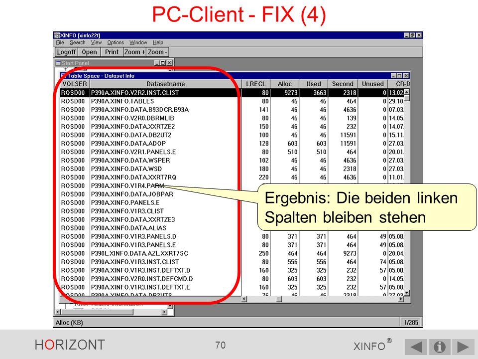 PC-Client - FIX (4) Ergebnis: Die beiden linken Spalten bleiben stehen