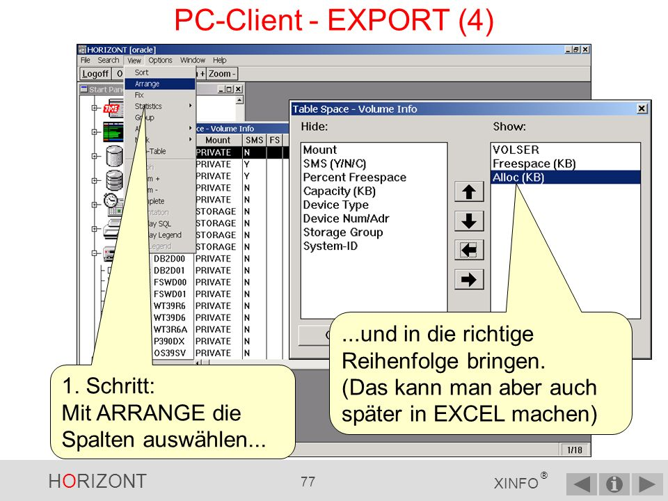PC-Client - EXPORT (4) ...und in die richtige Reihenfolge bringen.