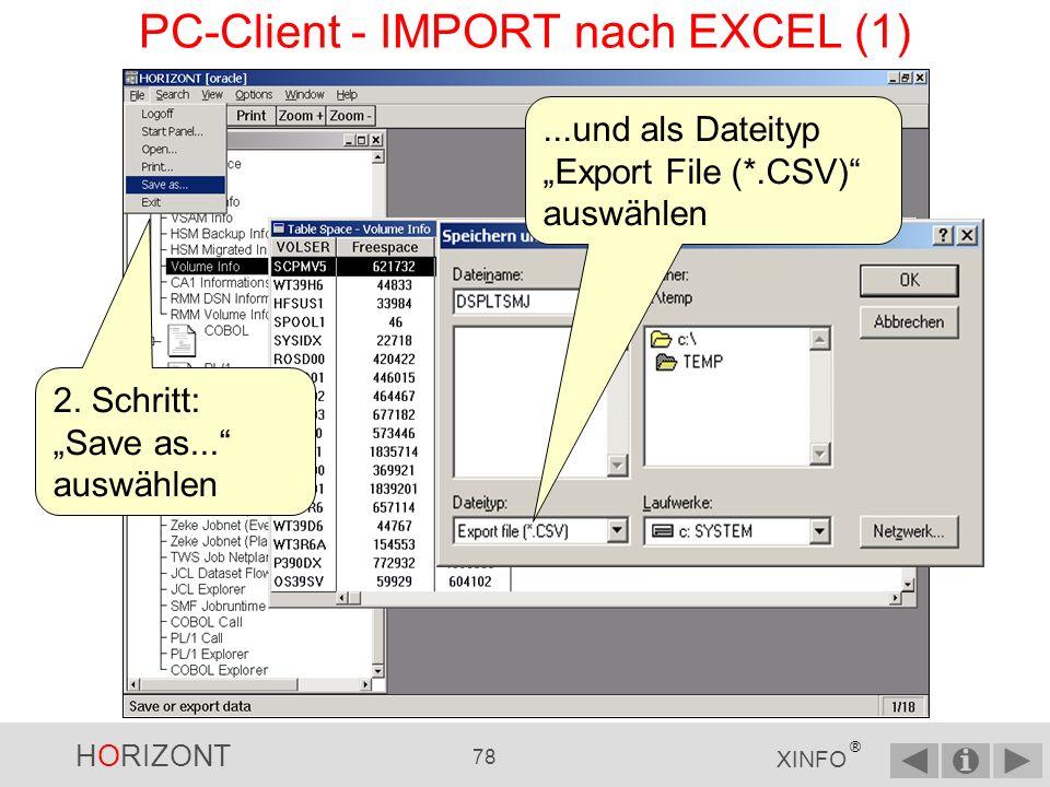 PC-Client - IMPORT nach EXCEL (1)