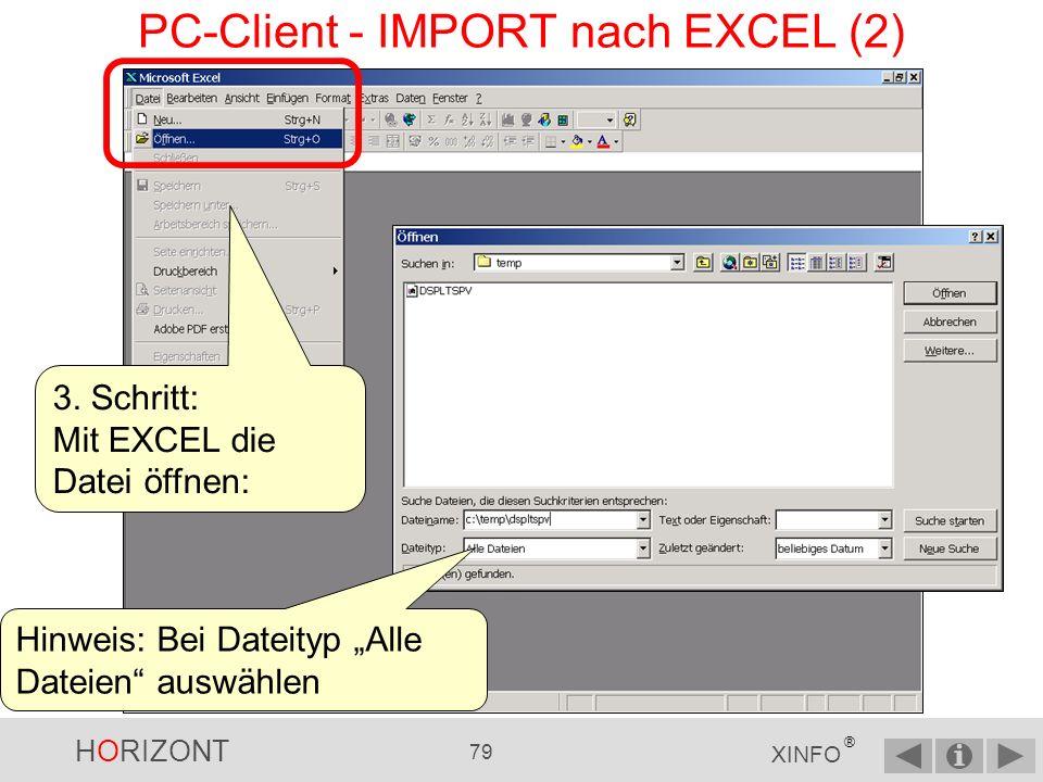 PC-Client - IMPORT nach EXCEL (2)
