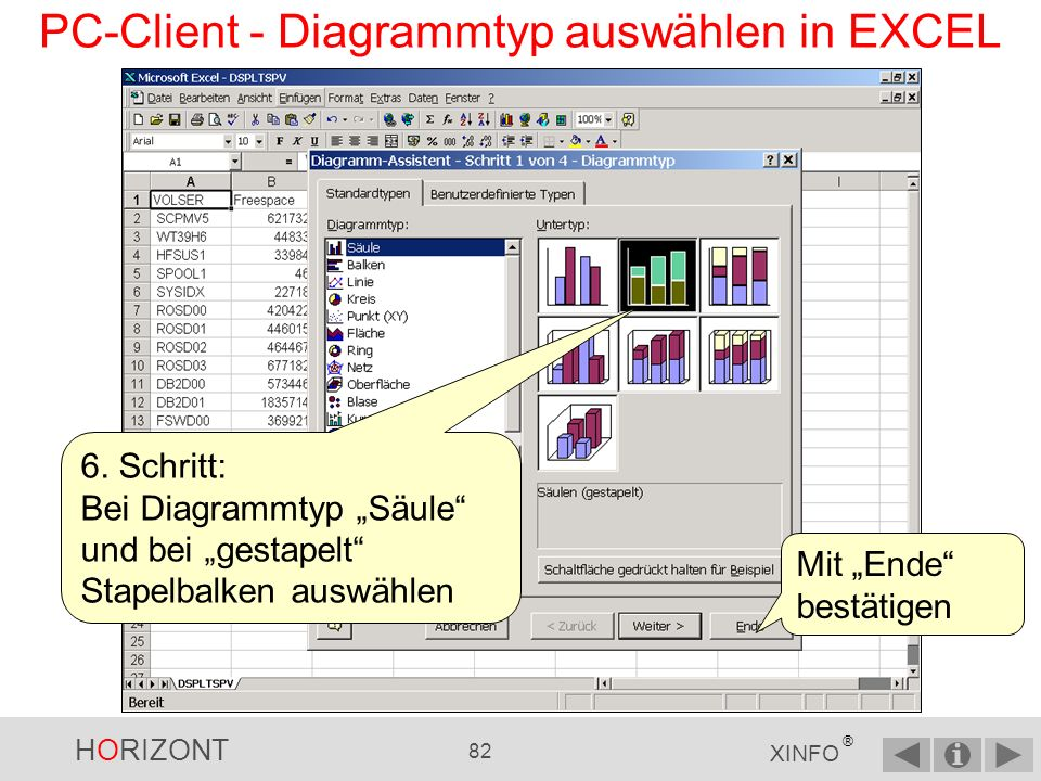 PC-Client - Diagrammtyp auswählen in EXCEL