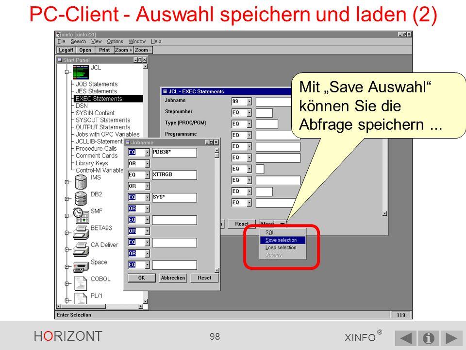 PC-Client - Auswahl speichern und laden (2)